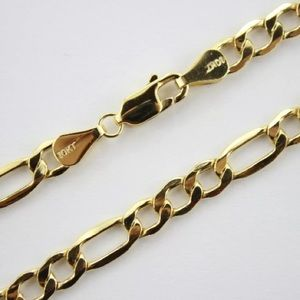 """Solid Gold Figaro Mens 30"""" Chain Necklace 3.5mm"""